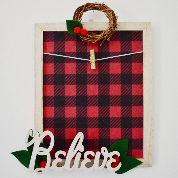 """Stitches & Bolts Other - Buffalo Plaid """"Believe"""" Holiday Photo Wall Decor"""